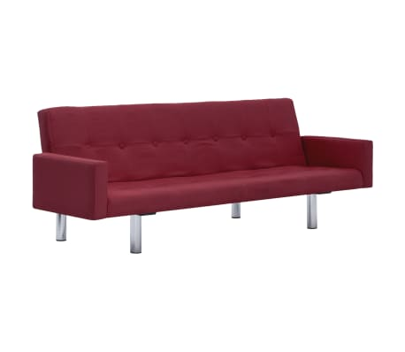 vidaXL Sofa Bed with Armrest Wine Red Polyester