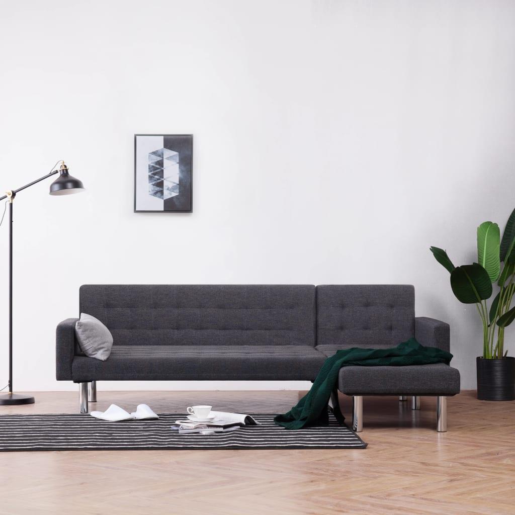 vidaXL Sofa w kształcie litery L, ciemnoszara, poliester