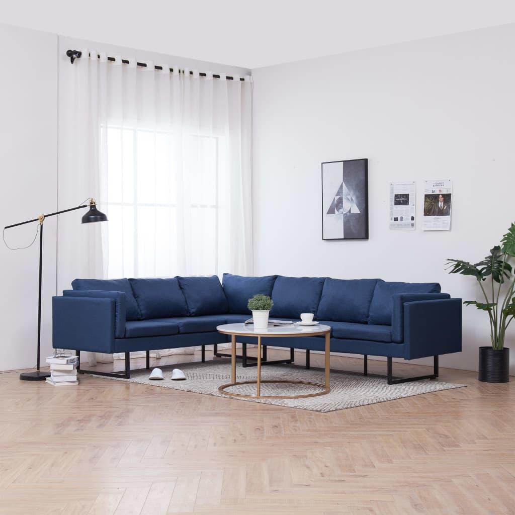 vidaXL Canapea de colț, albastru, material textil poza 2021 vidaXL