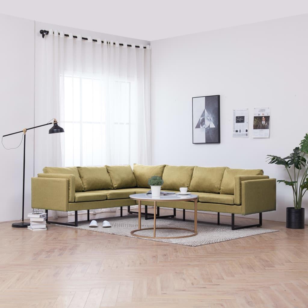 vidaXL Canapea de colț, verde, material textil poza vidaxl.ro