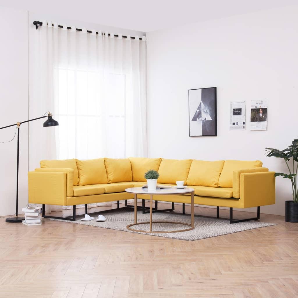 vidaXL hjørnesofa stof gul