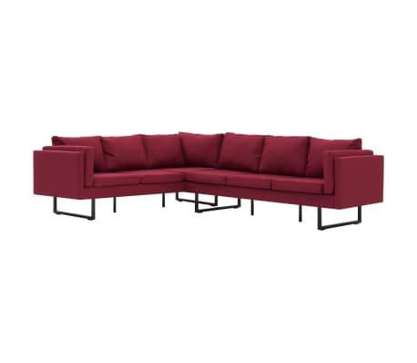 vidaXL Corner Sofa Red Fabric[2/8]