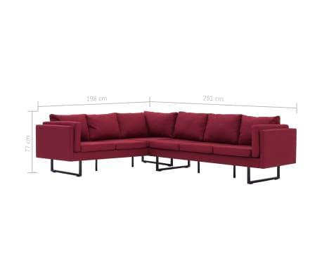 vidaXL Corner Sofa Red Fabric[8/8]
