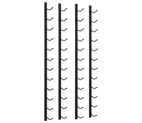 vidaXL Garrafeiras de parede para 12 garrafas 2 pcs ferro preto