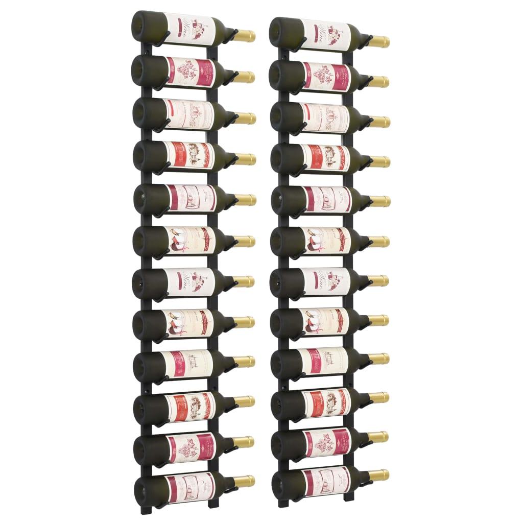vidaXL Suporturi vin montate pe perete, 12 sticle, 2 buc, negru, fier vidaxl.ro