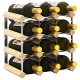 vidaXL Wine Rack for 12 Bottles Solid Pinewood
