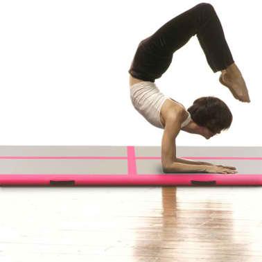"vidaXL Inflatable Gymnastics Mat with Pump 118.1""x39.3""x3.9"" PVC Pink[3/14]"