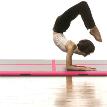 "vidaXL Inflatable Gymnastics Mat with Pump 157.4""x39.3""x3.9"" PVC Pink[2/14]"