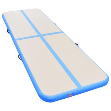 "vidaXL Inflatable Gymnastics Mat with Pump 157.4""x39.3""x3.9"" PVC Blue[3/14]"