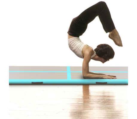 vidaXL Gymnastiekmat met pomp opblaasbaar 400x100x10 cm PVC groen[2/14]