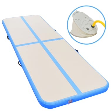 "vidaXL Inflatable Gymnastics Mat with Pump 196.8""x39.3""x3.9"" PVC Blue[1/14]"