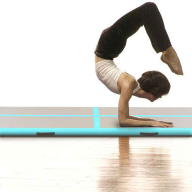 "vidaXL Inflatable Gymnastics Mat with Pump 236.2""x39.3""x3.9"" PVC Green[2/14]"