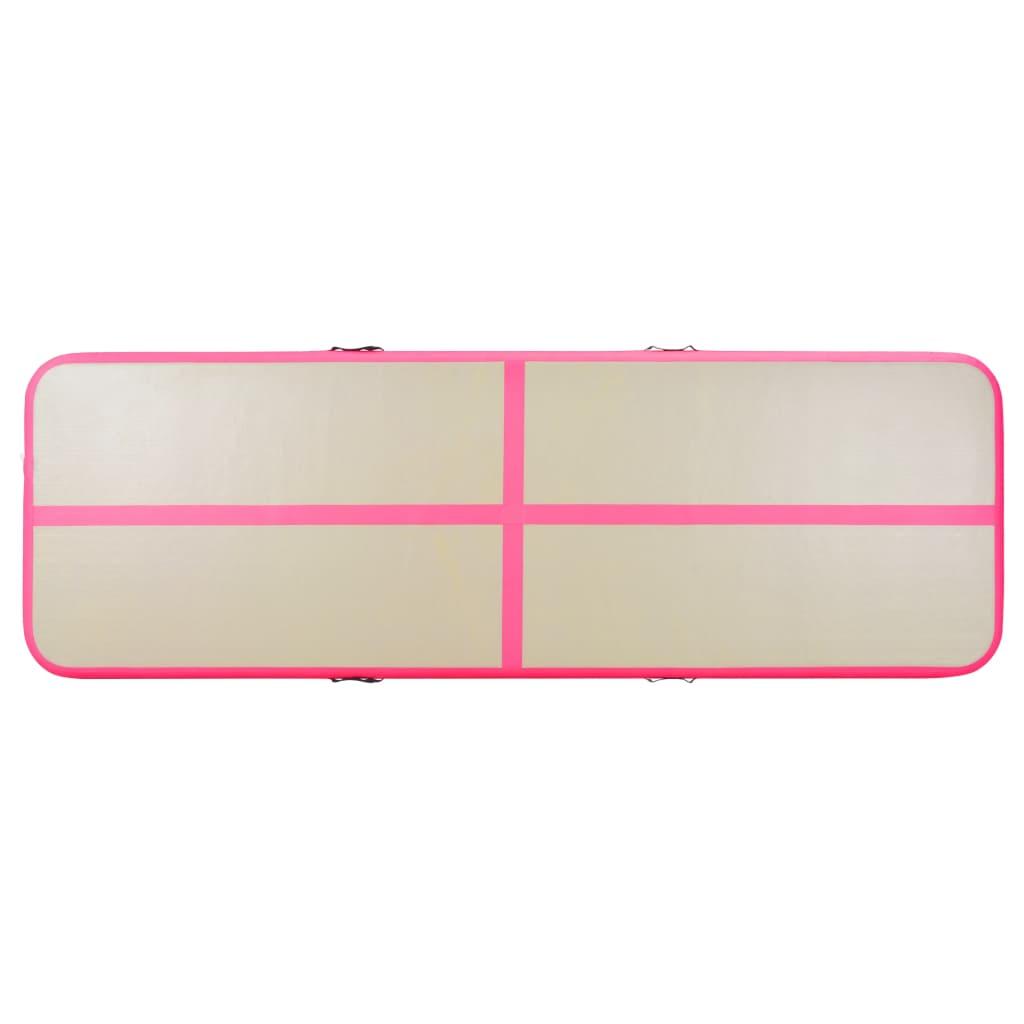 Täispumbatav võimlemismatt pumbaga 700 x 100 x 10 cm PVC roosa