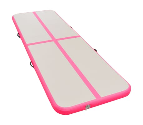 vidaXL Saltea gimnastică gonflabilă cu pompă roz 700x100x10cm PVC[3/14]