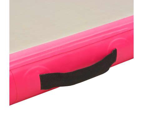 vidaXL Saltea gimnastică gonflabilă cu pompă roz 700x100x10cm PVC[9/14]
