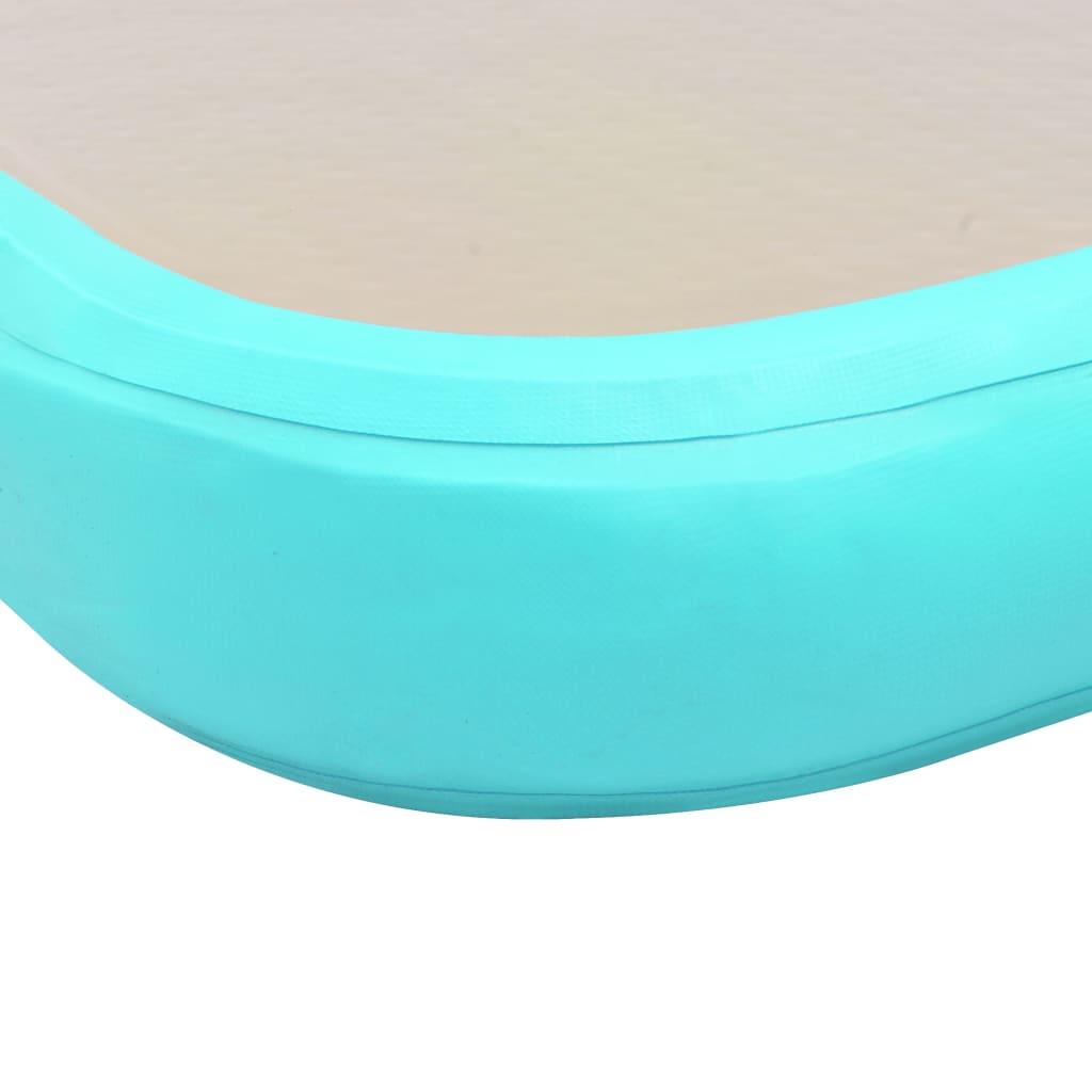 Täispumbatav võimlemismatt pumbaga 700x100x10 cm PVC roheline