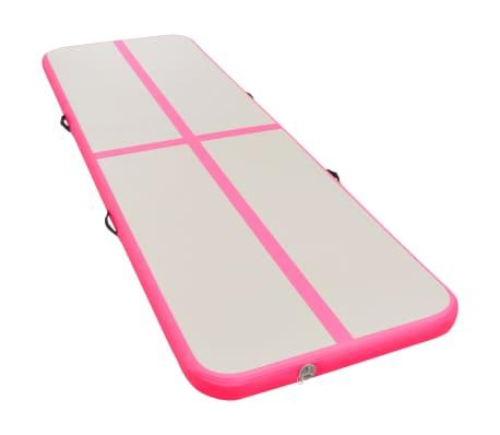 vidaXL Saltea gimnastică gonflabilă cu pompă roz 800x100x10cm PVC[2/14]