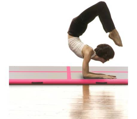 vidaXL Saltea gimnastică gonflabilă cu pompă roz 800x100x10cm PVC[3/14]