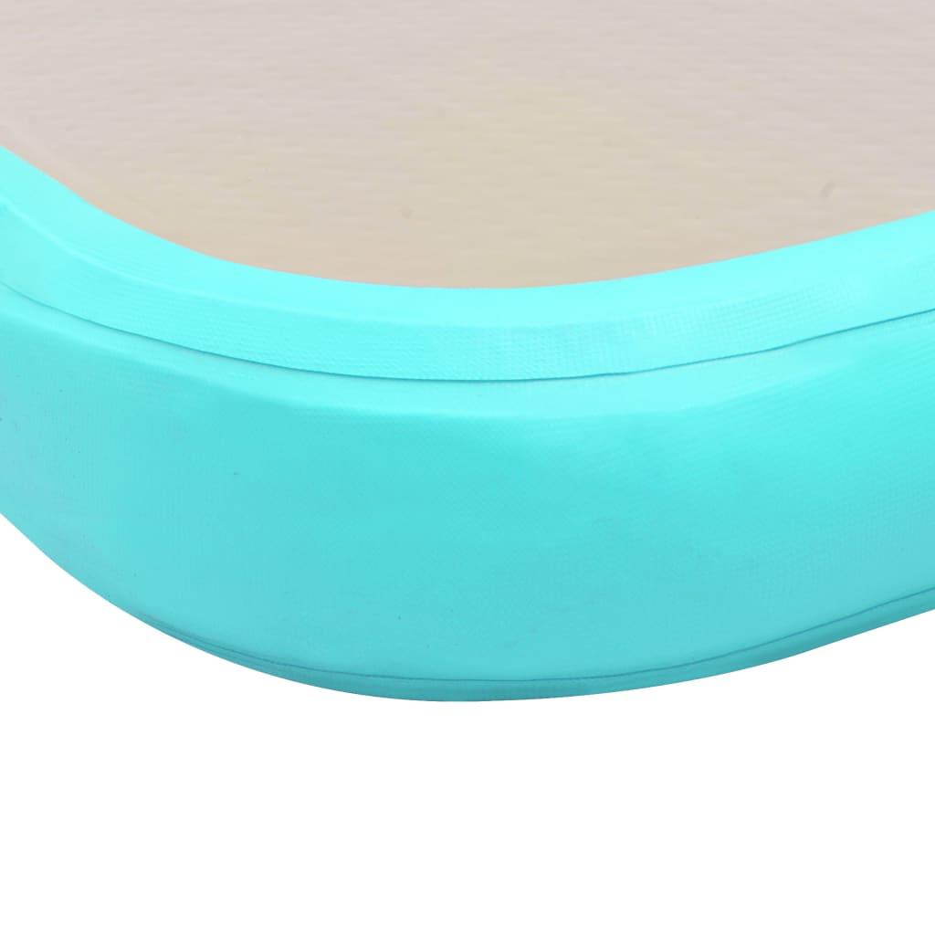 Täispumbatav võimlemismatt pumbaga 800x100x10 cm PVC roheline