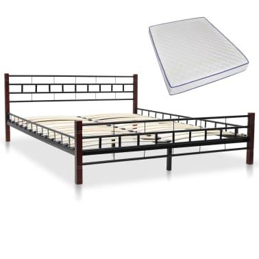 vidaXL Bed with Memory Foam Mattress Black Metal 153x203 cm Queen[1/12]