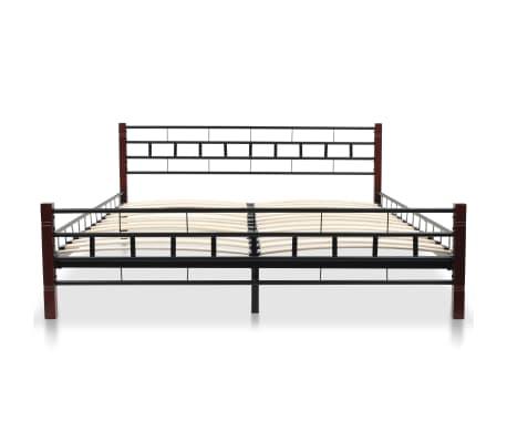 vidaXL Bed with Memory Foam Mattress Black Metal 153x203 cm Queen[3/12]