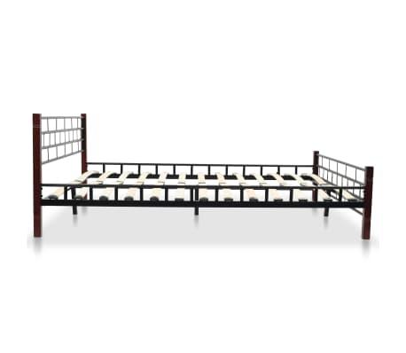 vidaXL Bed with Memory Foam Mattress Black Metal 153x203 cm Queen[4/12]