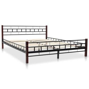 vidaXL Bed with Memory Foam Mattress Black Metal 153x203 cm Queen[2/12]