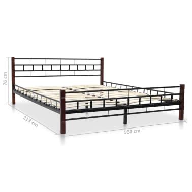 vidaXL Bed with Memory Foam Mattress Black Metal 153x203 cm Queen[12/12]