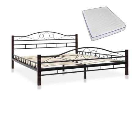 vidaXL Bed with Memory Foam Mattress Black Metal 153x203 cm Queen