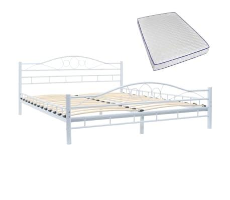 vidaXL Bed with Memory Foam Mattress White Metal 153x203 cm Queen