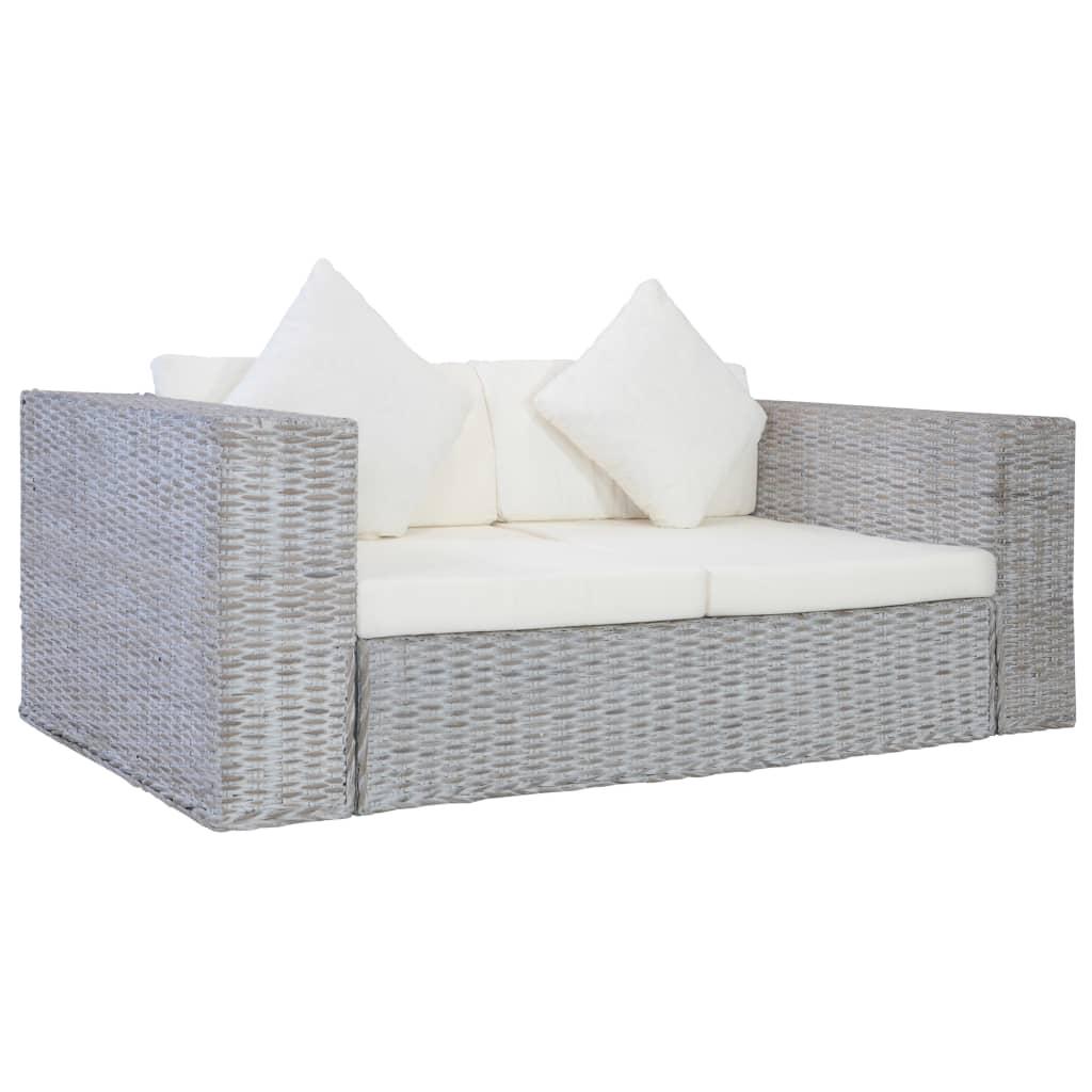 vidaXL 2-osobowa sofa z poduszkami, szara, naturalny rattan