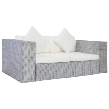 vidaXL Dvivietė sofa su pagalvėlėmis, pilkos spalvos, natūr. ratanas[1/8]