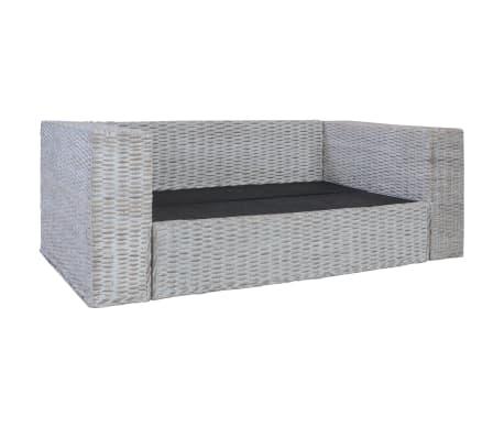 vidaXL Dvivietė sofa su pagalvėlėmis, pilkos spalvos, natūr. ratanas[2/8]