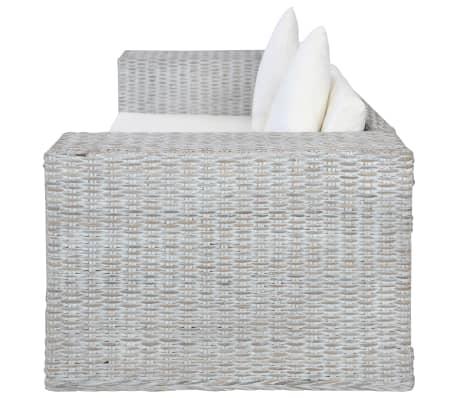 vidaXL Dvivietė sofa su pagalvėlėmis, pilkos spalvos, natūr. ratanas[5/8]