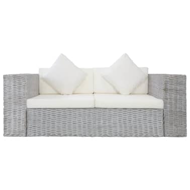 vidaXL Dvivietė sofa su pagalvėlėmis, pilkos spalvos, natūr. ratanas[3/8]