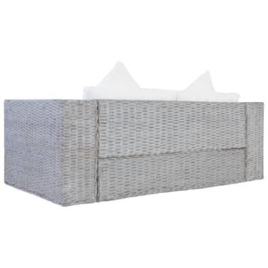 vidaXL Dvivietė sofa su pagalvėlėmis, pilkos spalvos, natūr. ratanas[4/8]