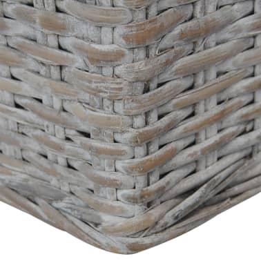 vidaXL Dvivietė sofa su pagalvėlėmis, pilkos spalvos, natūr. ratanas[7/8]