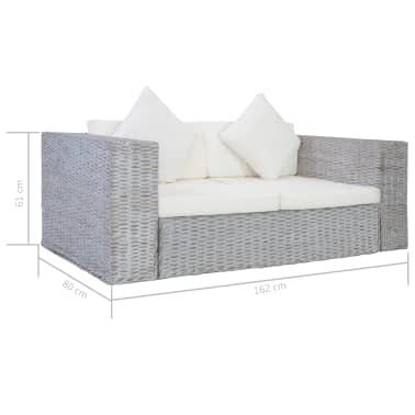 vidaXL Dvivietė sofa su pagalvėlėmis, pilkos spalvos, natūr. ratanas[8/8]