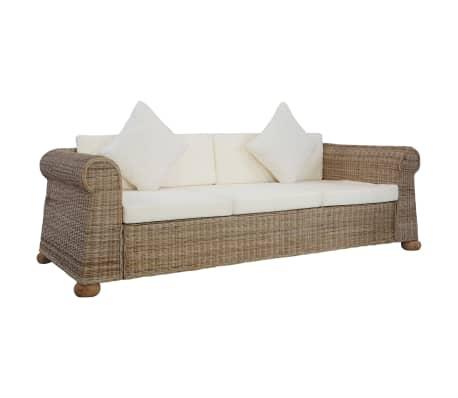 vidaXL 3-Seater Sofa with Cushions Natural Rattan