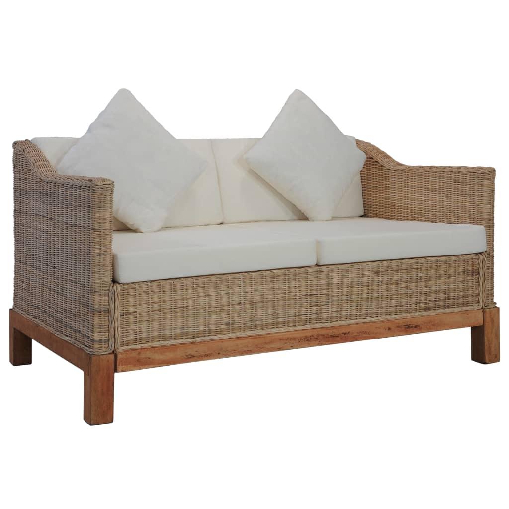 vidaXL 2-osobowa sofa z poduszkami, naturalny rattan