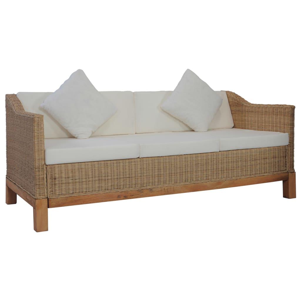 vidaXL 3-personers sofa med hynder naturlig rattan