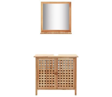vidaXL Armoire pour lavabo avec miroir Bois de noyer massif