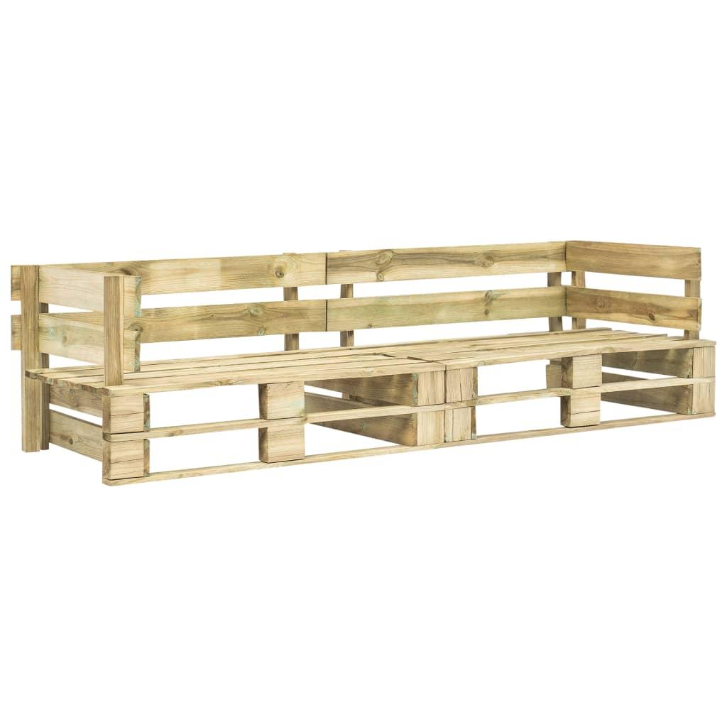 vidaXL Sofa ogrodowa z palet, 2 osobowa, zielone drewno FSC