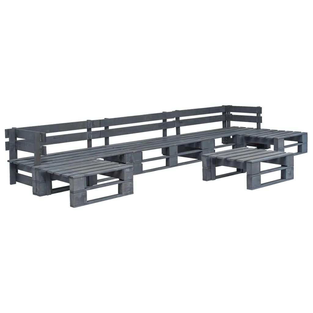 vidaXL Set mobilier de grădină din paleți, 6 piese, gri, lemn vidaxl.ro
