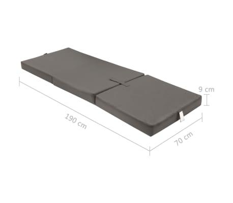 vidaXL 3-teilige Klappmatratze 190×70×9 cm Grau[6/6]