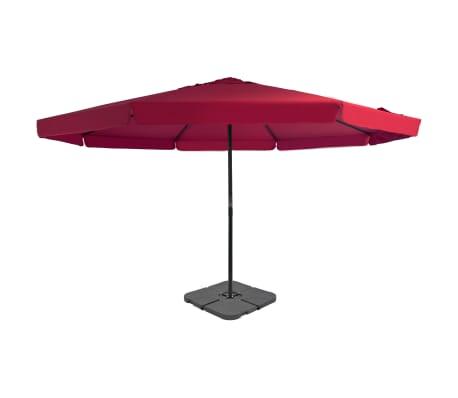 vidaXL Záhradný slnečník s prenosnou základňou červený
