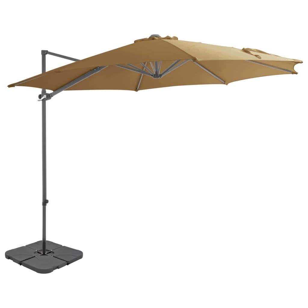 vidaXL Umbrelă de exterior cu bază portabilă, gri taupe imagine vidaxl.ro