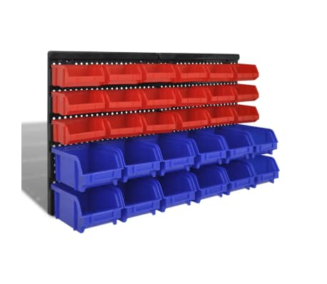 vidaXL Wall Mounted Garage Plastic Storage Bin Set 30 pcs Blue & Red