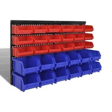 vidaXL Contenitore Plastica per Garage da Parete Set 30 pz Blu e Rosso[1/6]