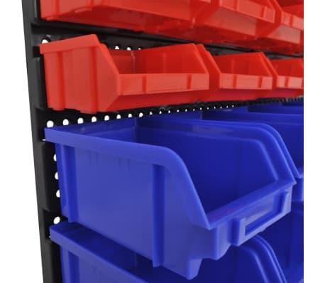 vidaXL Contenitore Plastica per Garage da Parete Set 30 pz Blu e Rosso[6/6]